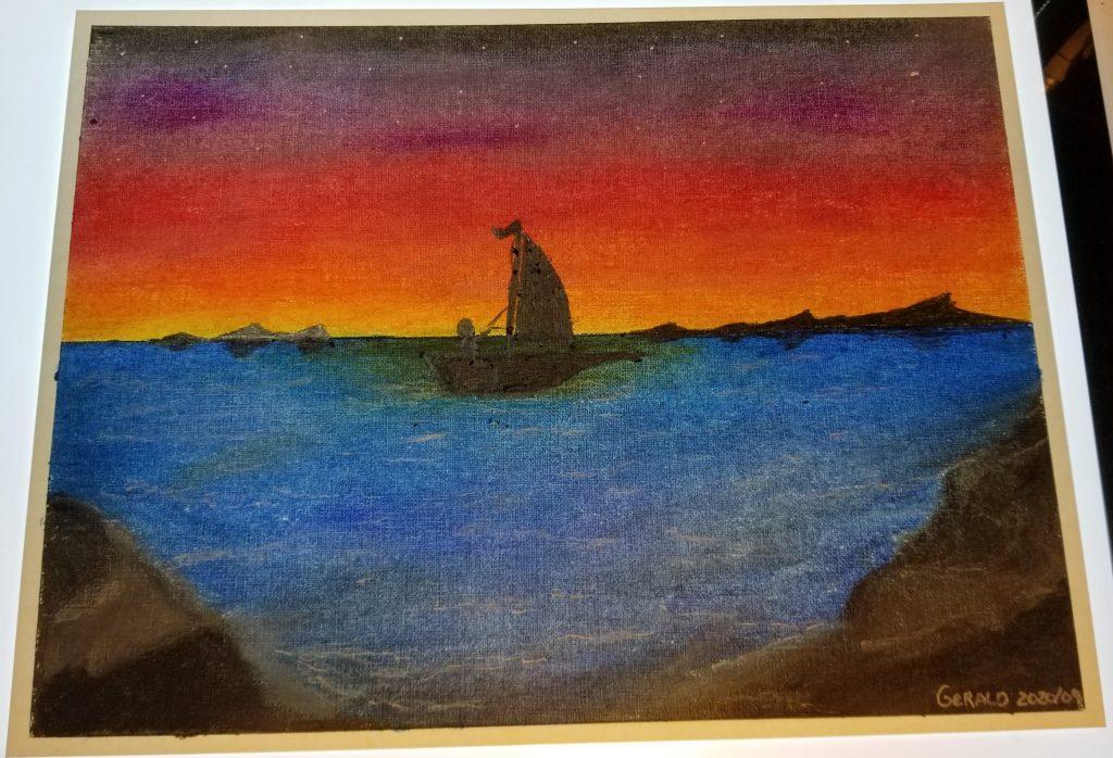 Voilier à l'aube - Septembre 2020 – Pastel (huile et sec) et graphite