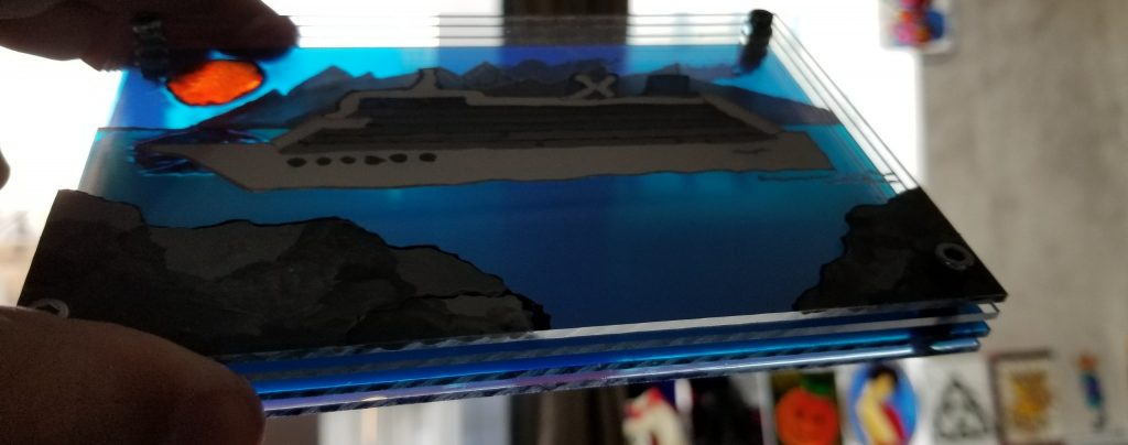Croisière en 4 dimensions - Avril 2020 - Peinture sur quatre feuilles acrylique 5x7