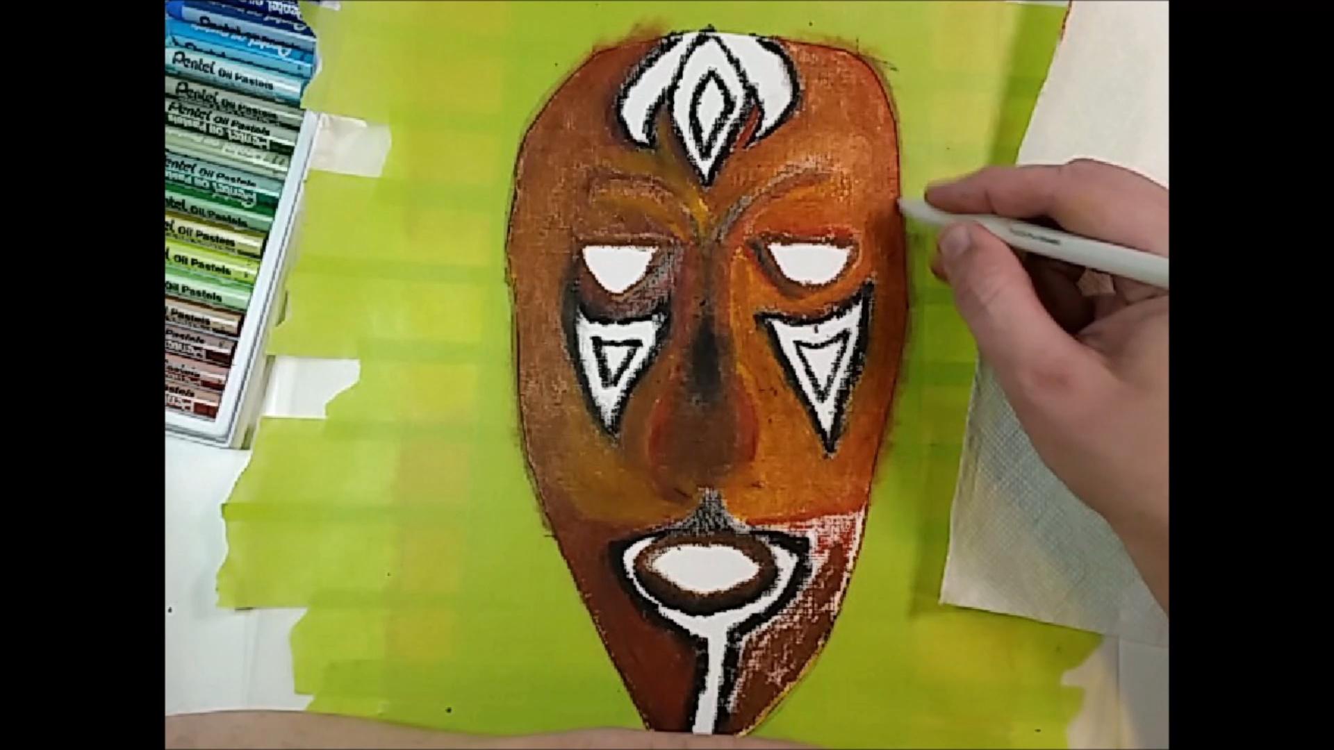 Masque africain - Novembre 2020 - Pastel à l'huile sur papier